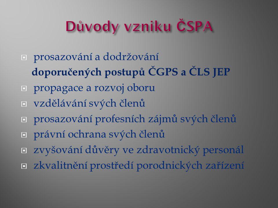  prosazování a dodržování doporučených postupů ČGPS a ČLS JEP  propagace a rozvoj oboru  vzdělávání svých členů  prosazování profesních zájmů svých členů  právní ochrana svých členů  zvyšování důvěry ve zdravotnický personál  zkvalitnění prostředí porodnických zařízení