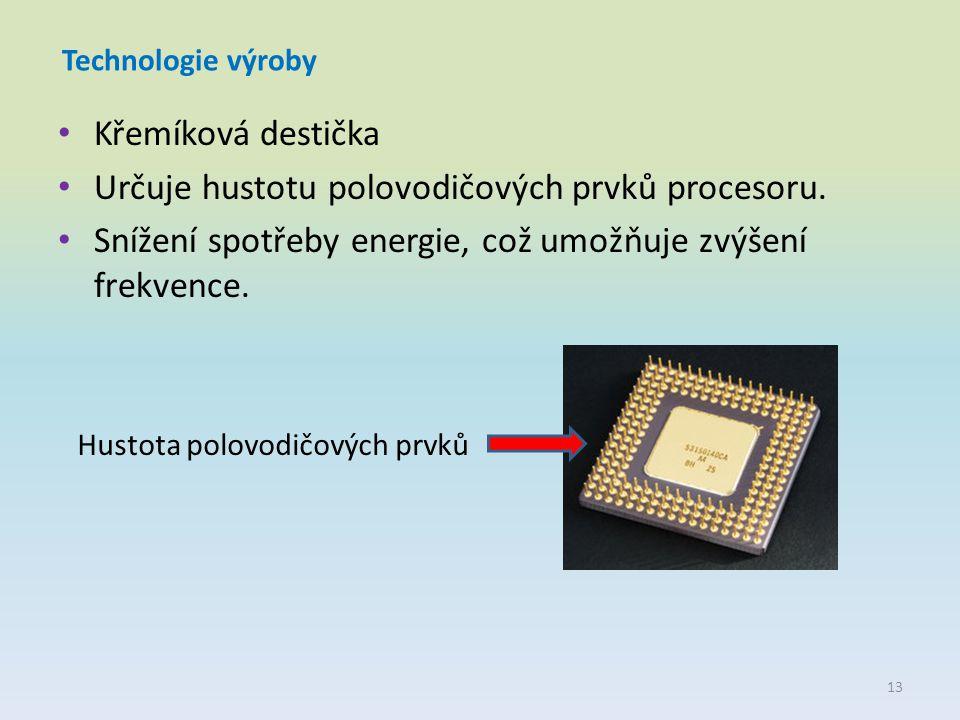 Technologie výroby Křemíková destička Určuje hustotu polovodičových prvků procesoru. Snížení spotřeby energie, což umožňuje zvýšení frekvence. Hustota