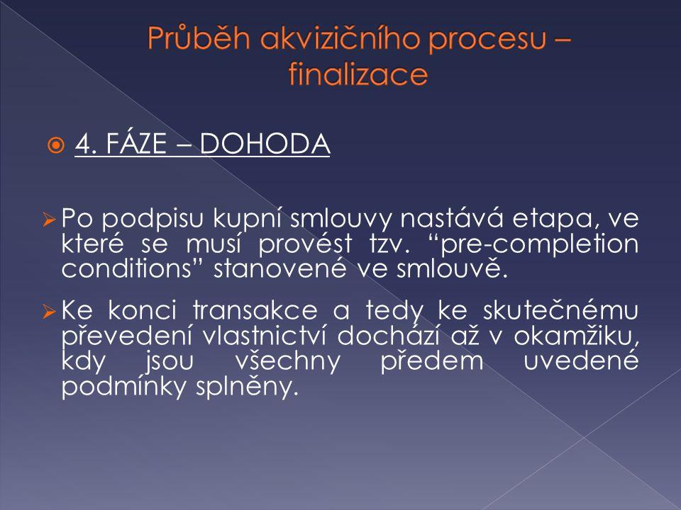 """ 4. FÁZE – DOHODA  Po podpisu kupní smlouvy nastává etapa, ve které se musí provést tzv. """"pre-completion conditions"""" stanovené ve smlouvě.  Ke konc"""
