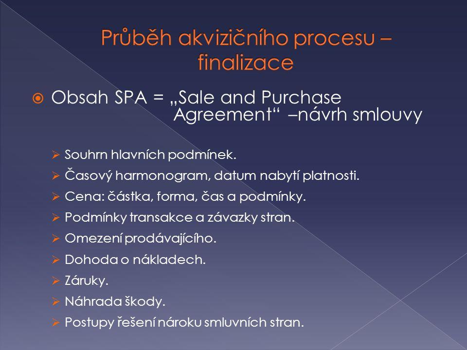 """ Obsah SPA = """"Sale and Purchase Agreement"""" –návrh smlouvy  Souhrn hlavních podmínek.  Časový harmonogram, datum nabytí platnosti.  Cena: částka, f"""