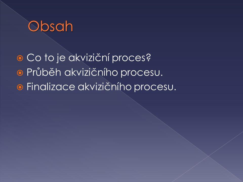  Co to je akviziční proces?  Průběh akvizičního procesu.  Finalizace akvizičního procesu.