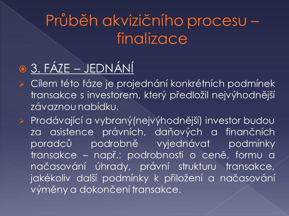  3. FÁZE – JEDNÁNÍ  Cílem této fáze je projednání konkrétních podmínek transakce s investorem, který předložil nejvýhodnější závaznou nabídku.  Pro