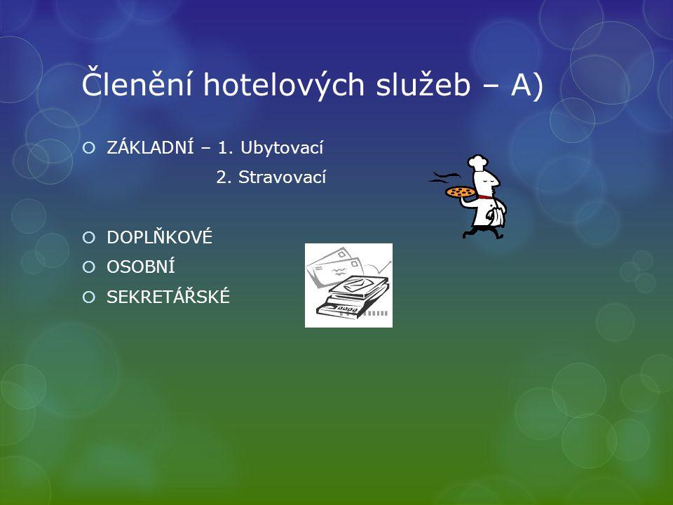 Členění hotelových služeb – A)  ZÁKLADNÍ – 1. Ubytovací 2.