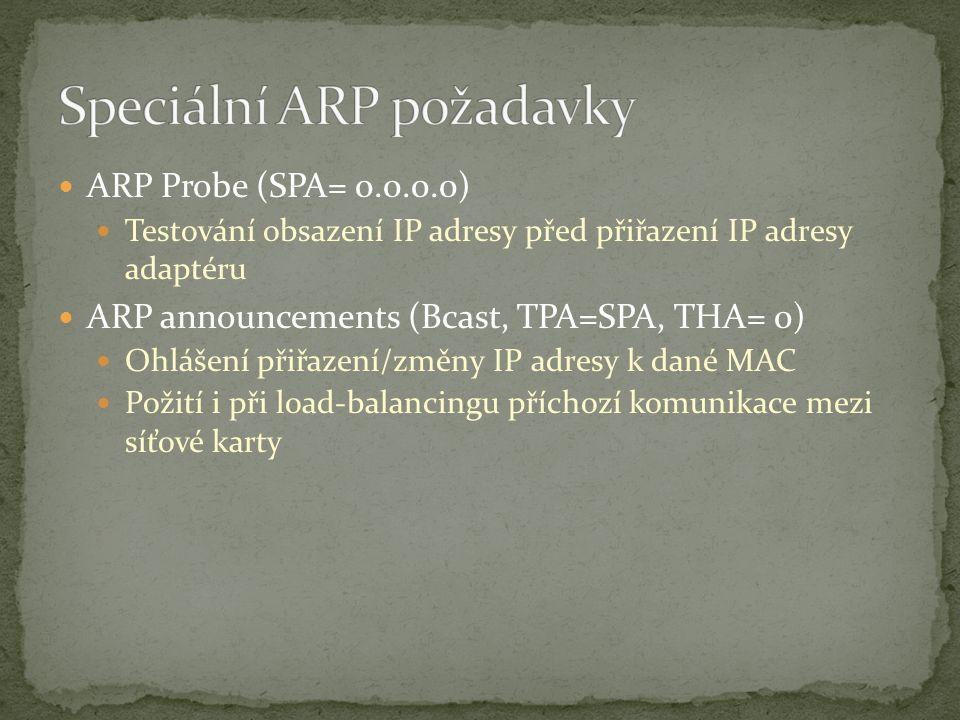 ARP Probe (SPA= 0.0.0.0) Testování obsazení IP adresy před přiřazení IP adresy adaptéru ARP announcements (Bcast, TPA=SPA, THA= 0) Ohlášení přiřazení/změny IP adresy k dané MAC Požití i při load-balancingu příchozí komunikace mezi síťové karty
