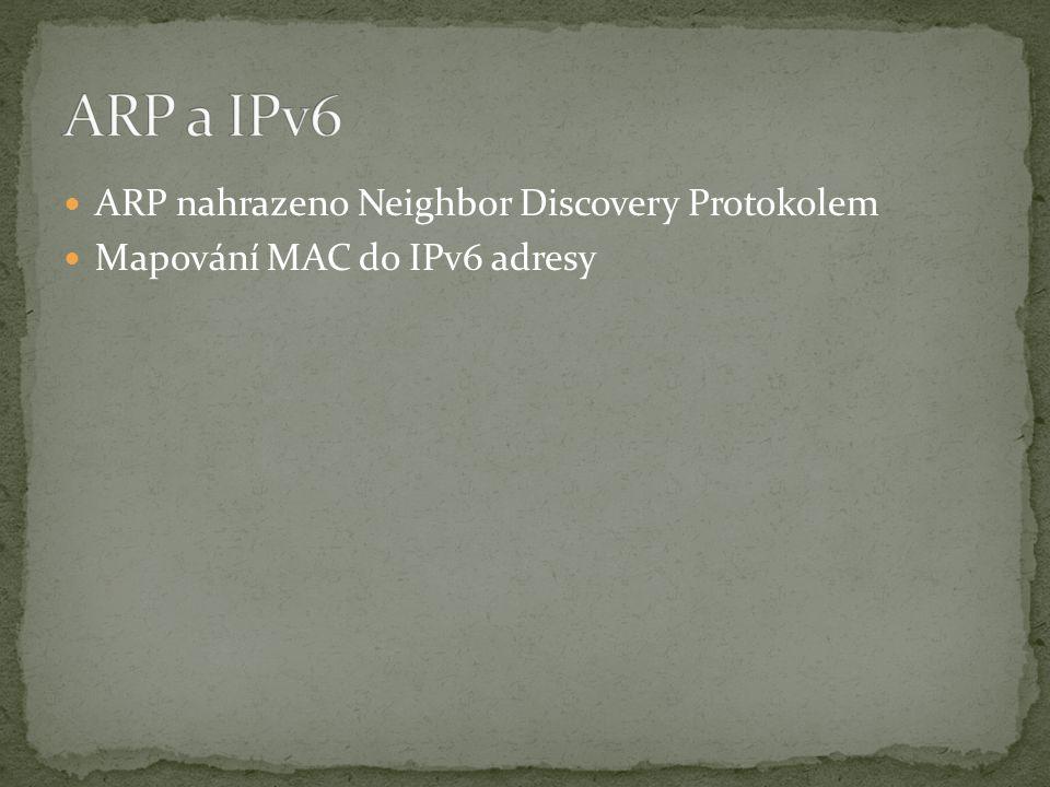 ARP nahrazeno Neighbor Discovery Protokolem Mapování MAC do IPv6 adresy