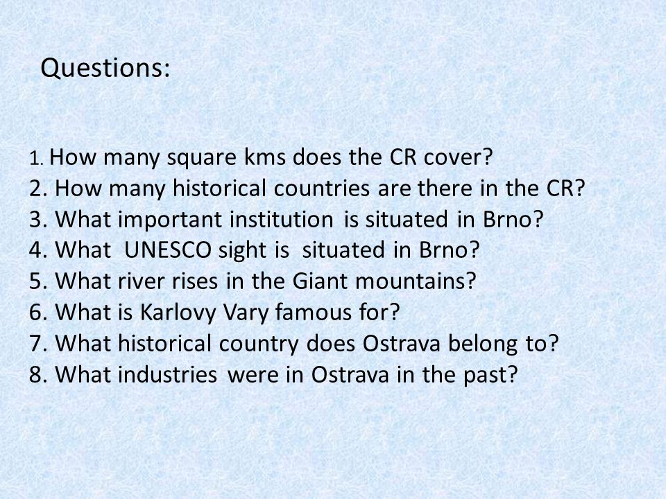 Questions: 1. How many square kms does the CR cover.