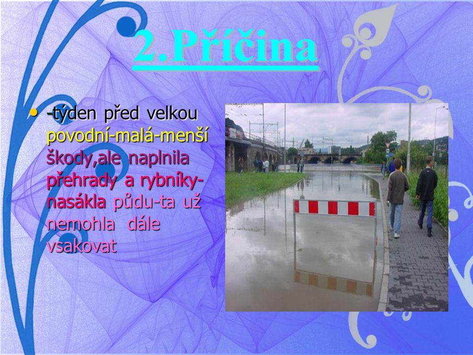 -týden před velkou povodní-malá-menší škody,ale naplnila přehrady a rybníky- nasákla půdu-ta už nemohla dále vsakovat -týden před velkou povodní-malá-