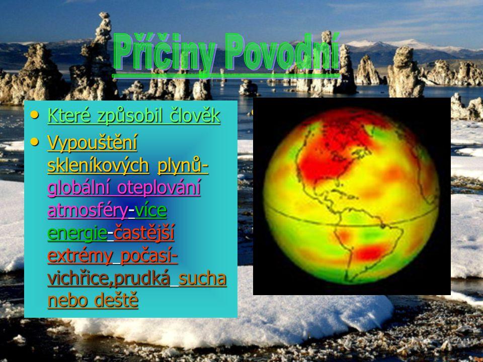 Které způsobil člověk Které způsobil člověk Vypouštění skleníkových plynů- globální oteplování atmosféry-více energie-častější extrémy počasí- vichřic