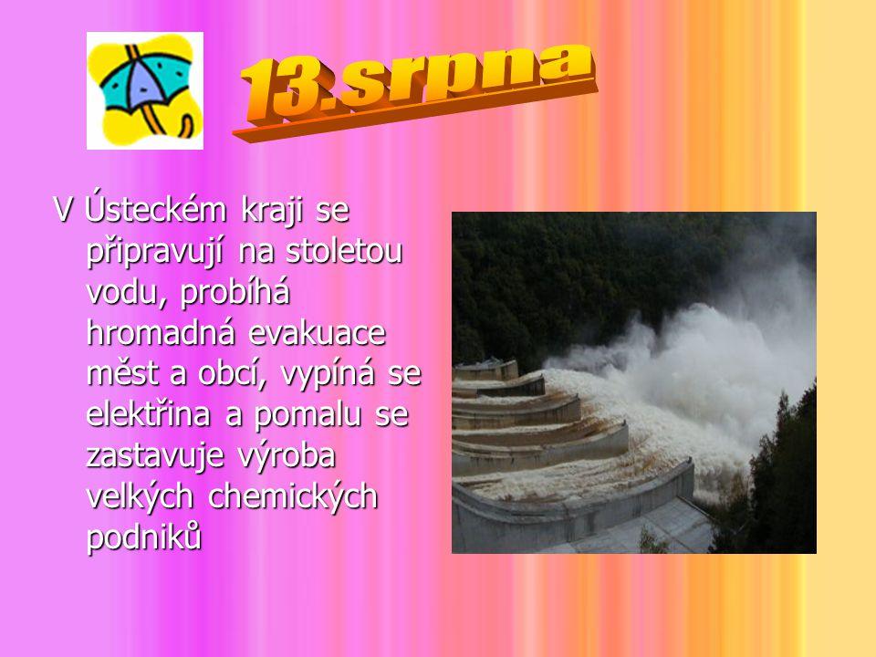 V Ústeckém kraji se připravují na stoletou vodu, probíhá hromadná evakuace měst a obcí, vypíná se elektřina a pomalu se zastavuje výroba velkých chemi