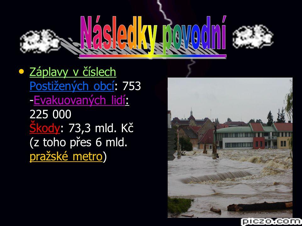 Záplavy v číslech Postižených obcí: 753 -Evakuovaných lidí: 225 000 Škody: 73,3 mld. Kč (z toho přes 6 mld. pražské metro) Záplavy v číslech Postižený