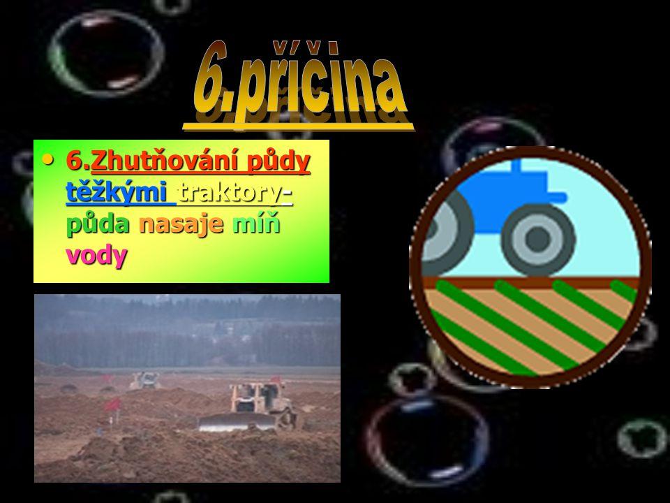 6.Zhutňování půdy těžkými traktory- půda nasaje míň vody 6.Zhutňování půdy těžkými traktory- půda nasaje míň vody