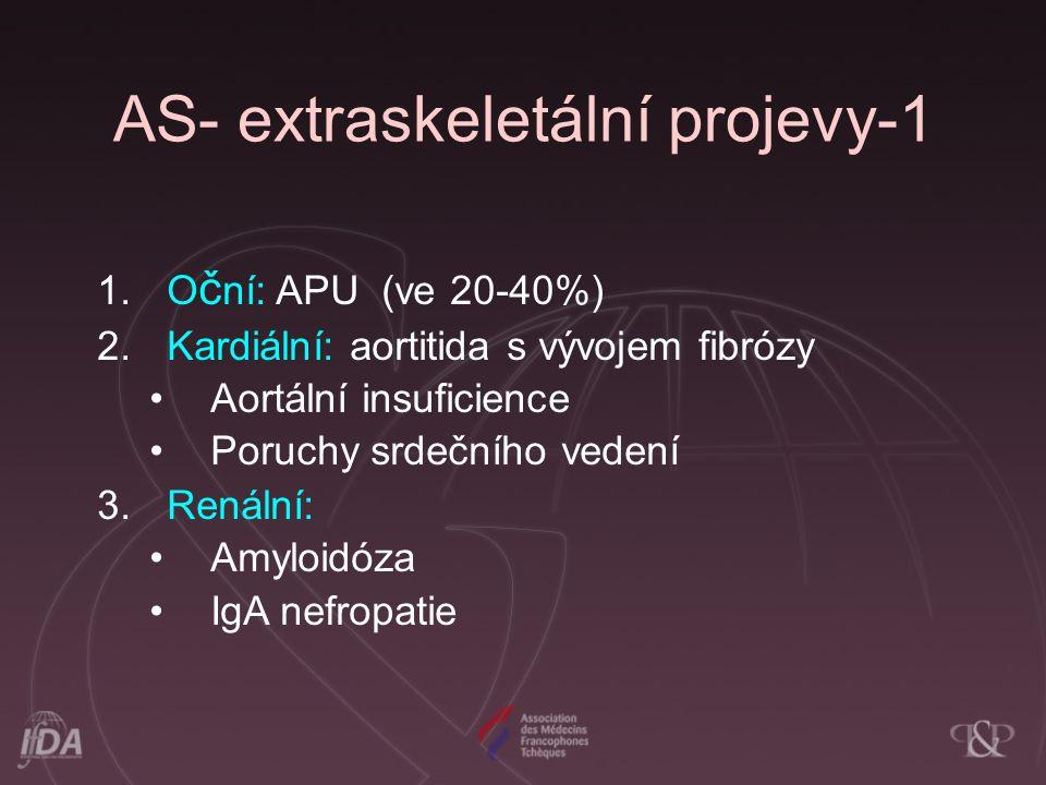 AS- extraskeletální projevy-1 1.O č ní: APU (ve 20-40%) 2.Kardiální: aortitida s vývojem fibrózy Aortální insuficience Poruchy srdečního vedení 3.Rená