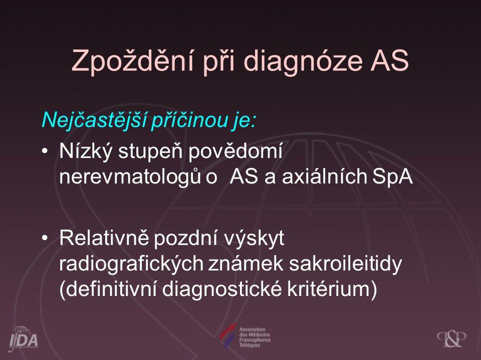Zpoždění při diagnóze AS Nejčastější příčinou je: Nízký stupeň povědomí nerevmatologů o AS a axiálních SpA Relativně pozdní výskyt radiografických zná