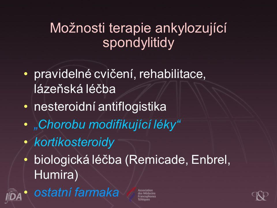 """Možnosti terapie ankylozující spondylitidy pravidelné cvičení, rehabilitace, lázeňská léčba nesteroidní antiflogistika """"Chorobu modifikující léky"""" kor"""