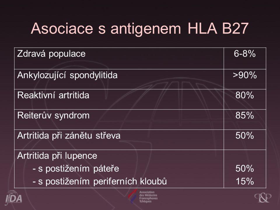 AS-epidemiologie familiární agregace (23x vyšší prevalence u prvostupňových příbuzných) výskyt HLA antigenu B27 cca 95% radiologické a klinické změny u 20- 25% všech nosičů HLA B27 Přítomnost HLA B27 zvyšuje riziko onemocnění 69x