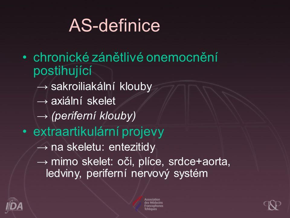 AS-definice chronické zánětlivé onemocnění postihující → sakroiliakální klouby → axiální skelet → (periferní klouby) extraartikulární projevy → na ske