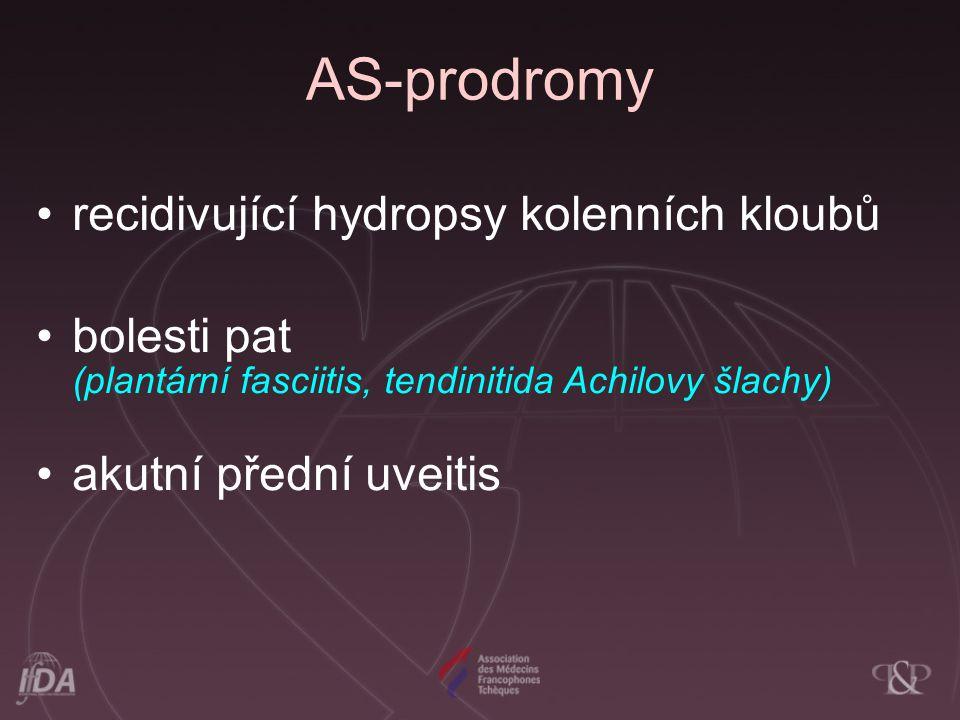 AS-prodromy recidivující hydropsy kolenních kloubů bolesti pat (plantární fasciitis, tendinitida Achilovy šlachy) akutní přední uveitis