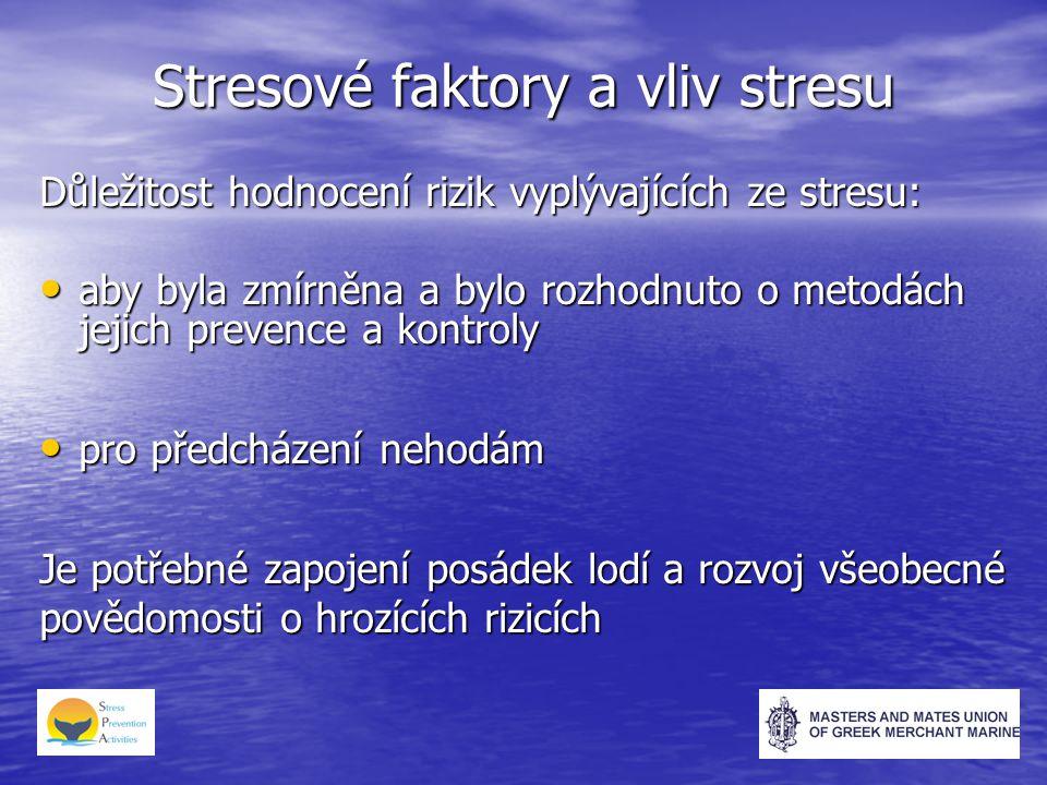 Stresové faktory a vliv stresu Důležitost hodnocení rizik vyplývajících ze stresu: aby byla zmírněna a bylo rozhodnuto o metodách jejich prevence a kontroly aby byla zmírněna a bylo rozhodnuto o metodách jejich prevence a kontroly pro předcházení nehodám pro předcházení nehodám Je potřebné zapojení posádek lodí a rozvoj všeobecné povědomosti o hrozících rizicích