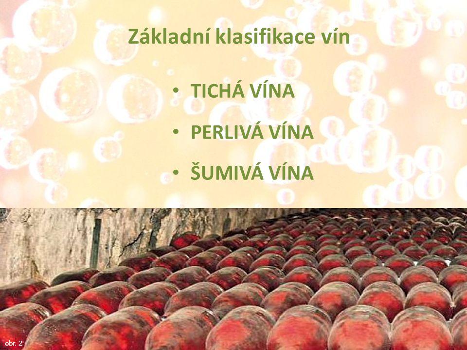 TICHÁ VÍNA PERLIVÁ VÍNA ŠUMIVÁ VÍNA obr. 2 Základní klasifikace vín