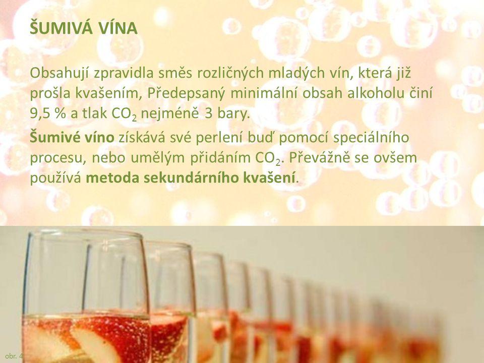 ŠUMIVÁ VÍNA Obsahují zpravidla směs rozličných mladých vín, která již prošla kvašením, Předepsaný minimální obsah alkoholu činí 9,5 % a tlak CO 2 nejm