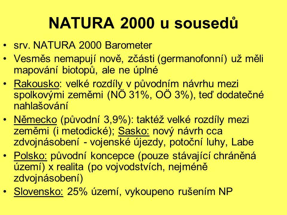 NATURA 2000 u sousedů srv. NATURA 2000 Barometer Vesměs nemapují nově, zčásti (germanofonní) už měli mapování biotopů, ale ne úplné Rakousko: velké ro