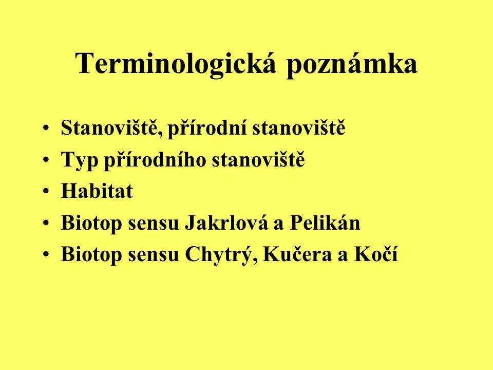 Stanoviště, přírodní stanoviště Typ přírodního stanoviště Habitat Biotop sensu Jakrlová a Pelikán Biotop sensu Chytrý, Kučera a Kočí Terminologická po