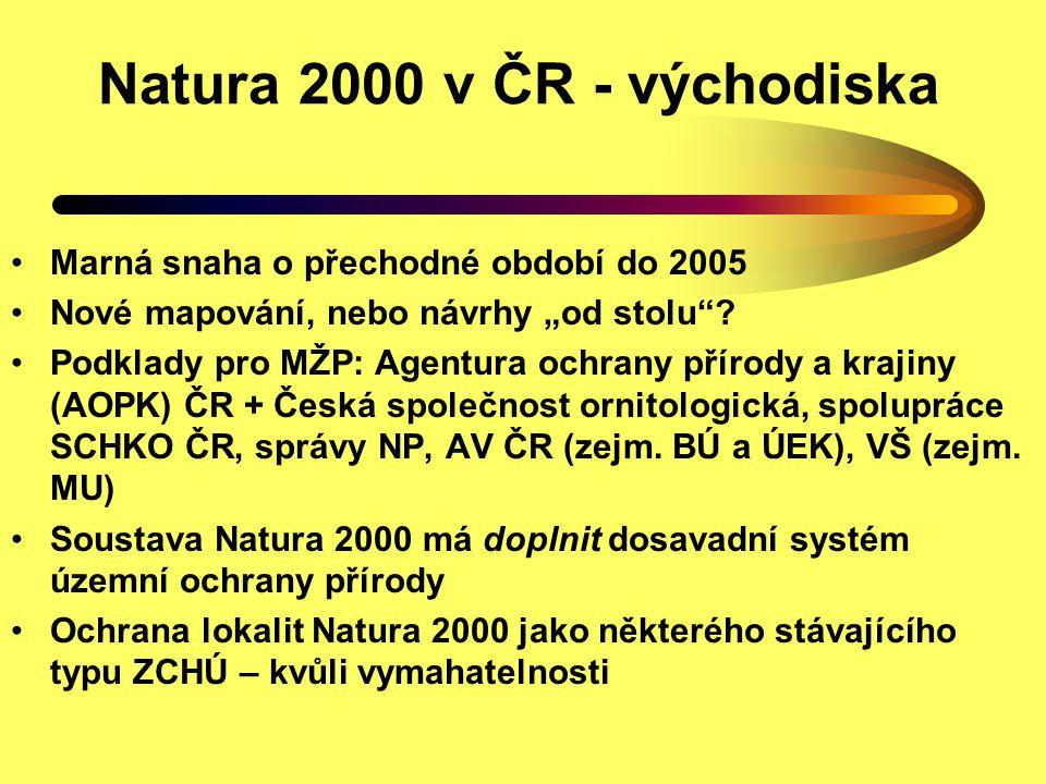 """Natura 2000 v ČR - východiska Marná snaha o přechodné období do 2005 Nové mapování, nebo návrhy """"od stolu""""? Podklady pro MŽP: Agentura ochrany přírody"""