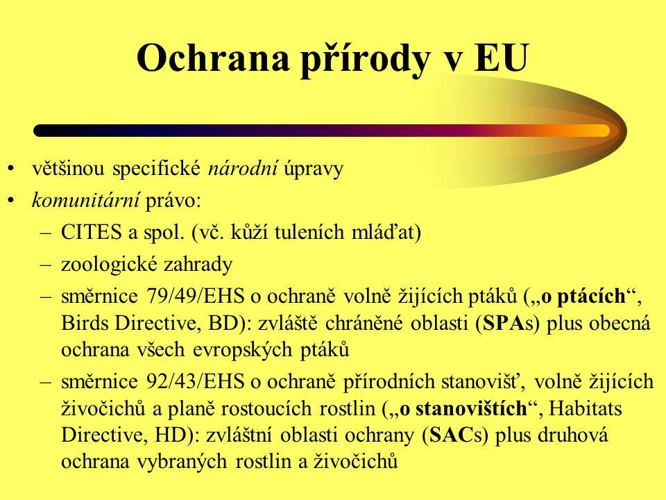 Ochrana přírody v EU většinou specifické národní úpravy komunitární právo: –CITES a spol. (vč. kůží tuleních mláďat) –zoologické zahrady –směrnice 79/