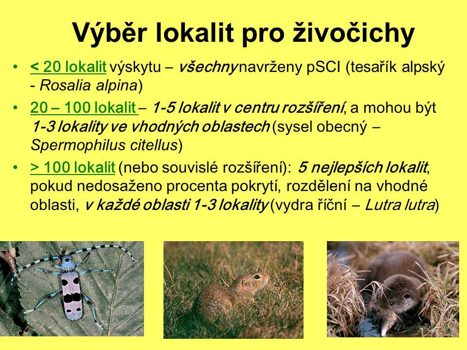 Výběr lokalit pro živočichy < 20 lokalit výskytu – všechny navrženy pSCI (tesařík alpský - Rosalia alpina) 20 – 100 lokalit – 1-5 lokalit v centru roz