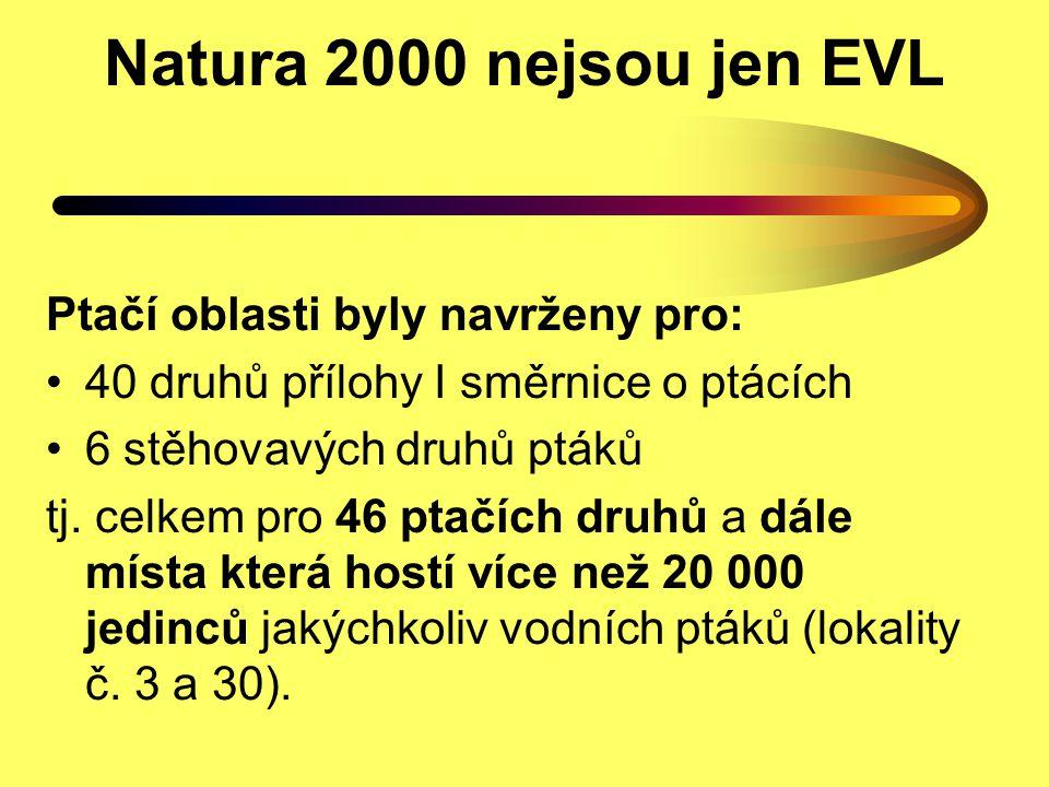 Natura 2000 nejsou jen EVL Ptačí oblasti byly navrženy pro: 40 druhů přílohy I směrnice o ptácích 6 stěhovavých druhů ptáků tj. celkem pro 46 ptačích