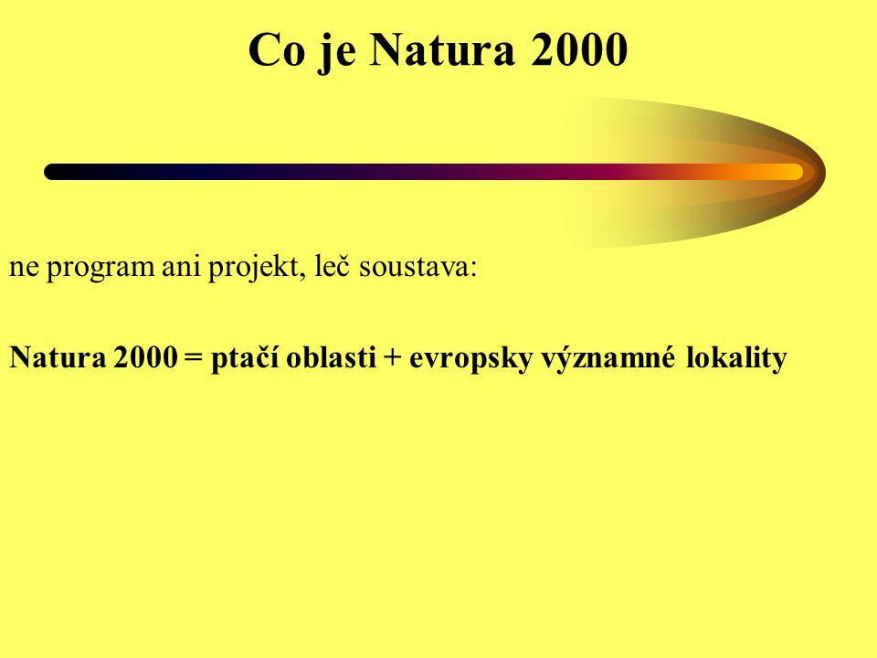 Co je Natura 2000 ne program ani projekt, leč soustava: Natura 2000 = ptačí oblasti + evropsky významné lokality