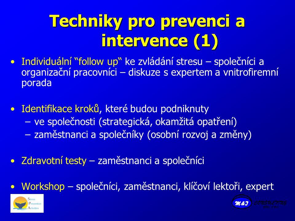 Techniky pro prevenci a intervence (1) Individuální follow up ke zvládání stresu – společníci a organizační pracovníci – diskuze s expertem a vnitrofiremní porada Identifikace kroků, které budou podniknuty –ve společnosti (strategická, okamžitá opatření) –zaměstnanci a společníky (osobní rozvoj a změny) Zdravotní testy – zaměstnanci a společníci Workshop – společníci, zaměstnanci, klíčoví lektoři, expert
