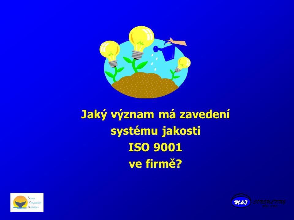 Jaký význam má zavedení systému jakosti ISO 9001 ve firmě?