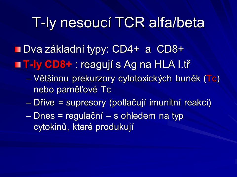 T-ly nesoucí TCR alfa/beta Dva základní typy: CD4+ a CD8+ T-ly CD8+ : reagují s Ag na HLA I.tř –Většinou prekurzory cytotoxických buněk (Tc) nebo pamě