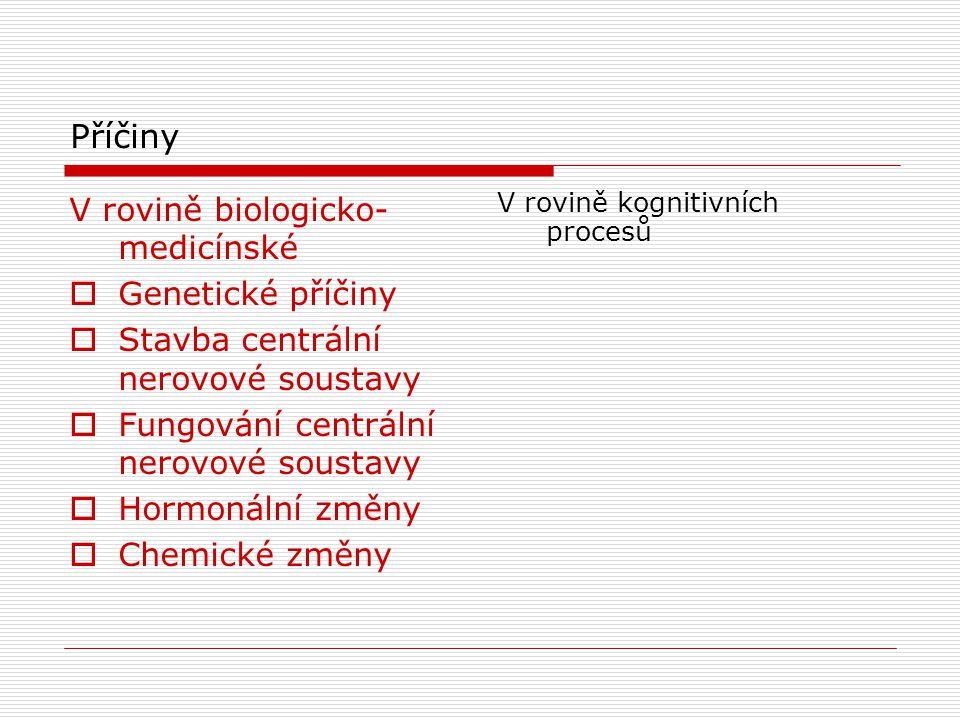 Příčiny 1.V rovině biologicko-medicínské 2.V rovině kognitivních procesů Ad 1  Genetické příčiny  Stavba centrální nerovové soustavy  Fungování centrální nerovové soustavy  Hormonální změny  Chemické změny