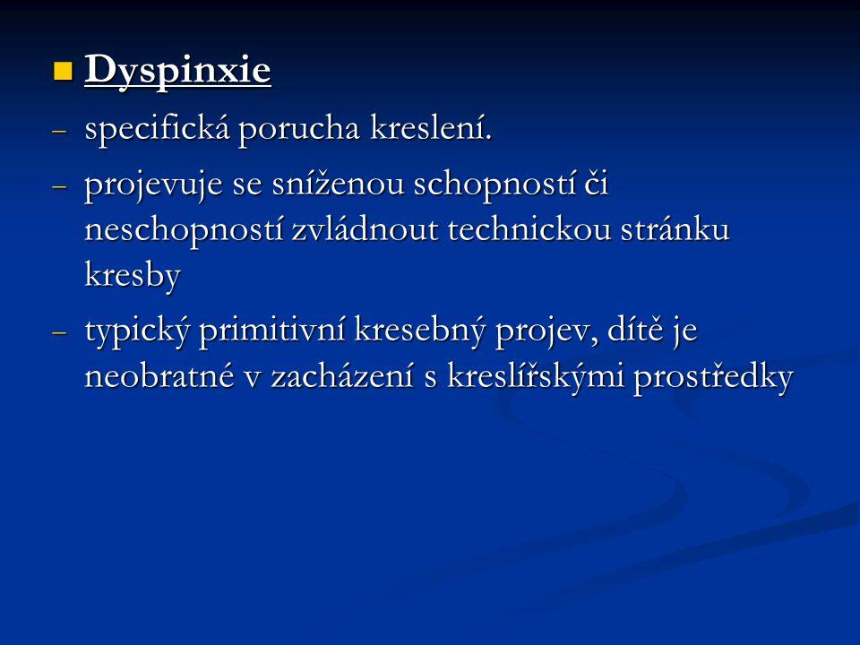 Dyspinxie Dyspinxie  specifická porucha kreslení.  projevuje se sníženou schopností či neschopností zvládnout technickou stránku kresby  typický pr