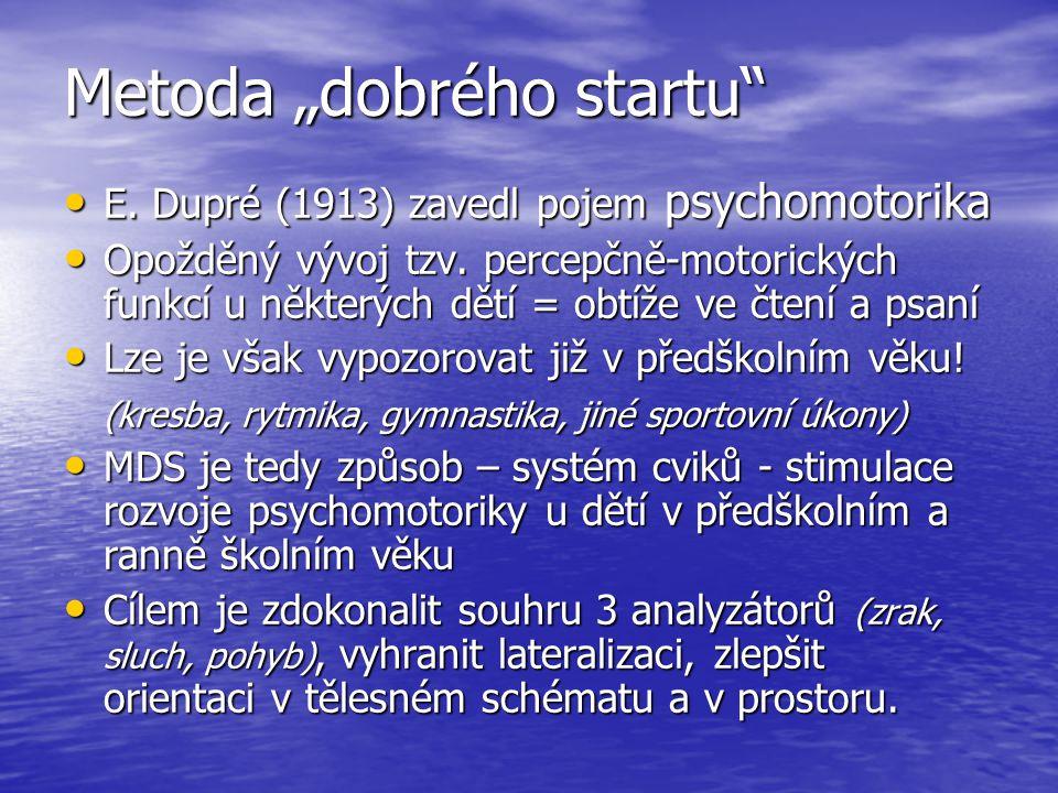 """Metoda """"dobrého startu E.Dupré (1913) zavedl pojem psychomotorika E."""