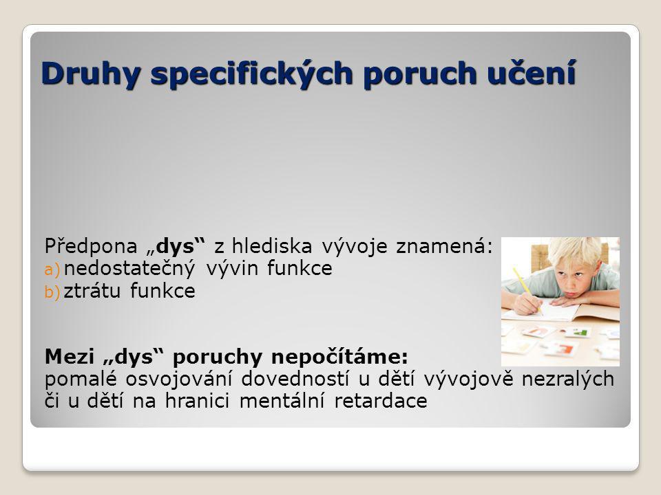 Druhy specifických poruch učení Dyslexie – porucha čtení Dysgrafie – porucha psaní Dysortografie – porucha pravopisu Dyskalkulie – matematických schopností