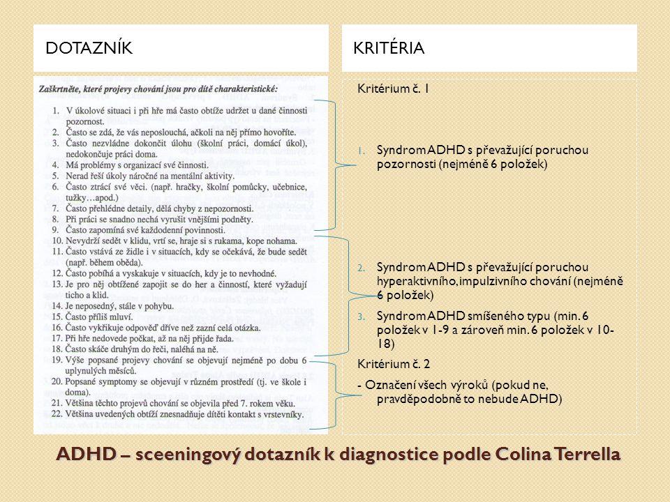 ADHD – sceeningový dotazník k diagnostice podle Colina Terrella DOTAZNÍKKRITÉRIA Kritérium č. 1 1. Syndrom ADHD s převažující poruchou pozornosti (nej