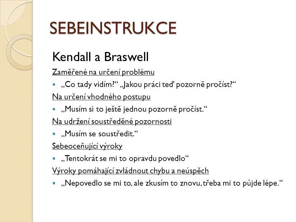 """SEBEINSTRUKCE Kendall a Braswell Zaměřené na určení problému """"Co tady vidím?"""" """"Jakou práci teď pozorně pročíst?"""" Na určení vhodného postupu """"Musím si"""