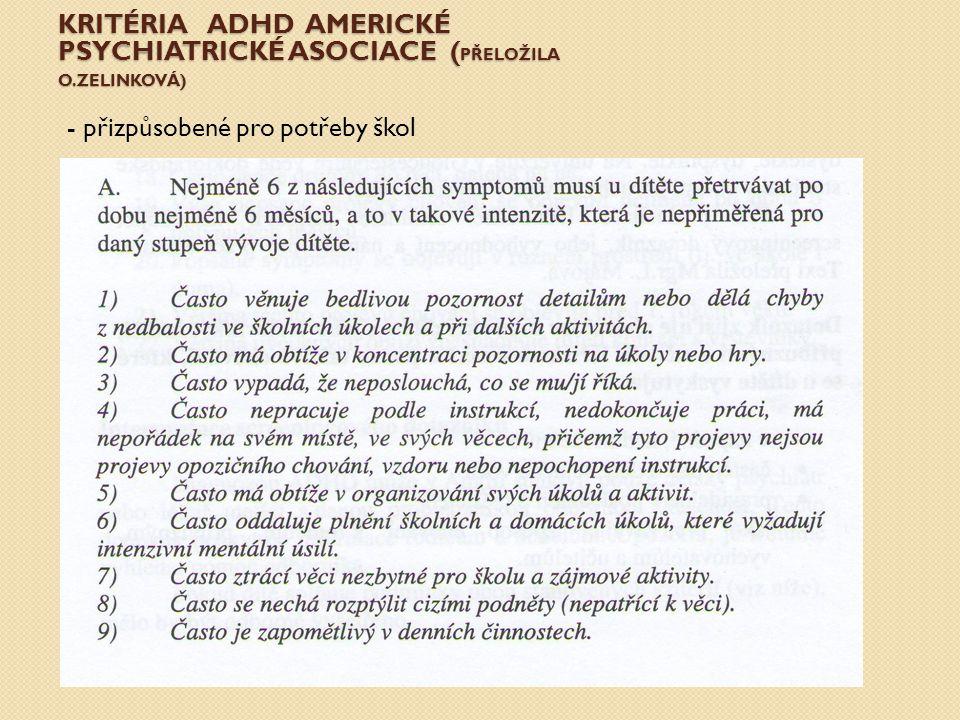 KRITÉRIA ADHD AMERICKÉ PSYCHIATRICKÉ ASOCIACE ( PŘELOŽILA O.ZELINKOVÁ) - přizpůsobené pro potřeby škol