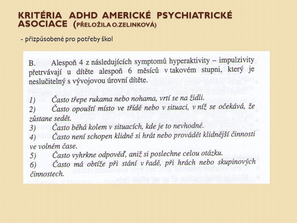 ADHD – DOTAZNÍK K DIAGNOSTICE PODLE COLINA TERRELLA - Přeložila mgr.