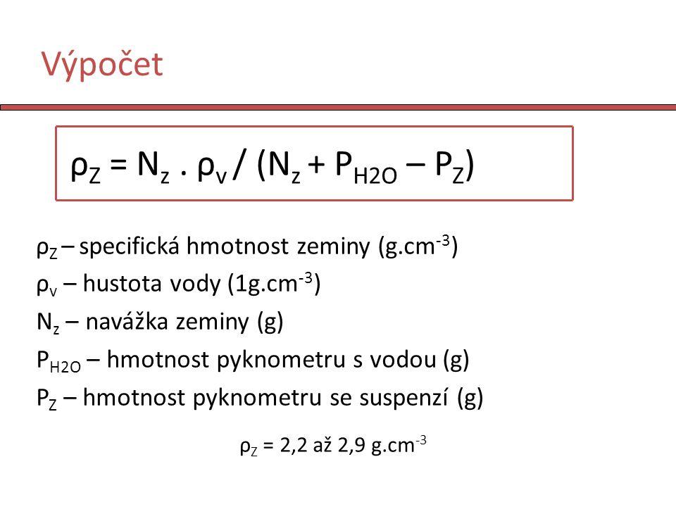 Výpočet ρ Z = N z. ρ v / (N z + P H2O – P Z ) ρ Z – specifická hmotnost zeminy (g.cm -3 ) ρ v – hustota vody (1g.cm -3 ) N z – navážka zeminy (g) P H2