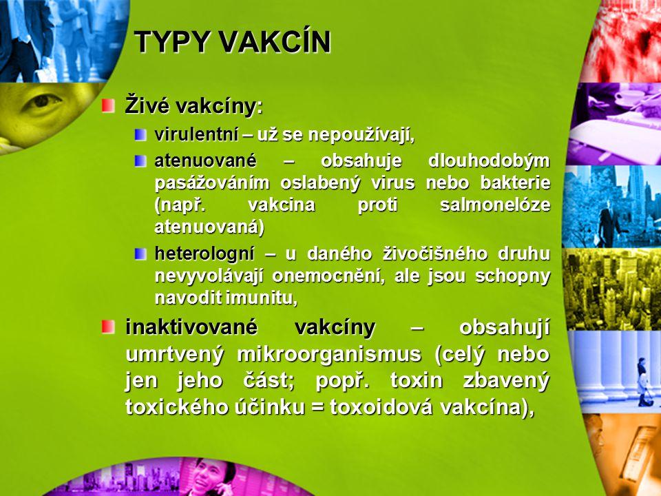 PŘEHLED HLAVNÍCH TYPŮ VAKCÍN vakcíny vyrobené tradiční technologií živá vakcínavirulentní heterologní atenuovaná inaktivovaná vakcína celobuněčná toxo