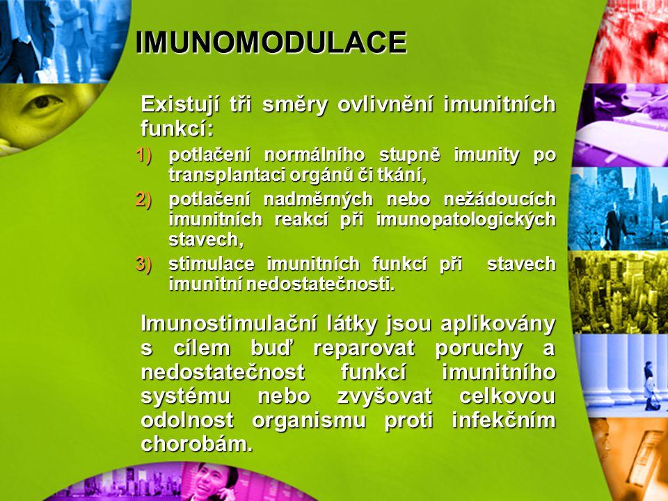 IMUNOMODULACE Imunomodulací rozumíme všechny zásahy do imunitních funkcí, včetně imunizace. Vzhledem k tomu, že se k těmto účelům využívají farmaka, n