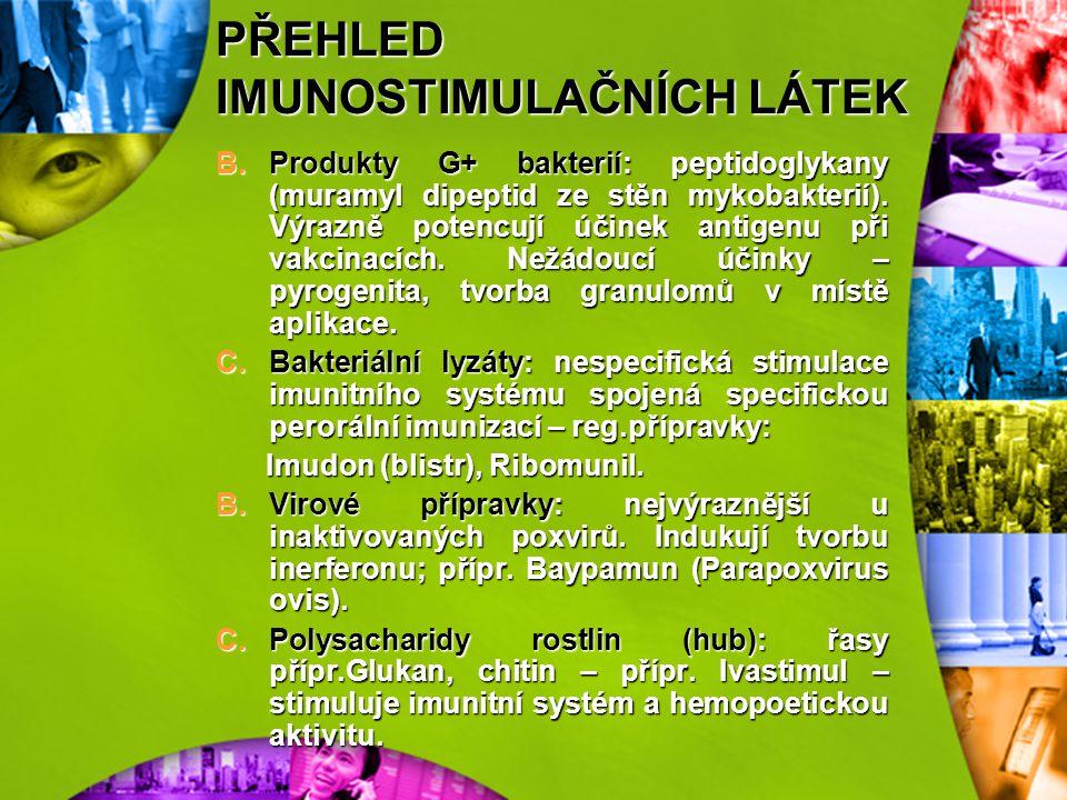 PŘEHLED IMUNOSTIMULAČNÍCH LÁTEK 1)Produkty mikrobiálního původu Jsou to převážně součásti bakteriálních stěn a v menším rozsahu i některé viry, které