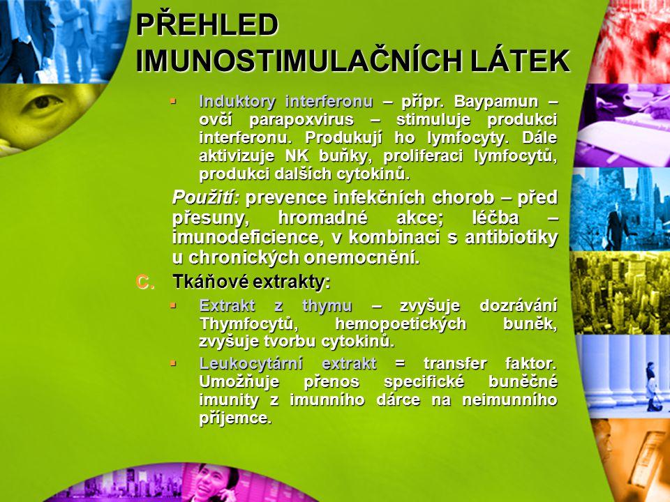 PŘEHLED IMUNOSTIMULAČNÍCH LÁTEK 2)Chemické látky A.Deriváty imidazolu:  Levamizol – zároveň antihelmintikum. Zvyšuje počty T lymfocytů, stimuluje tvo