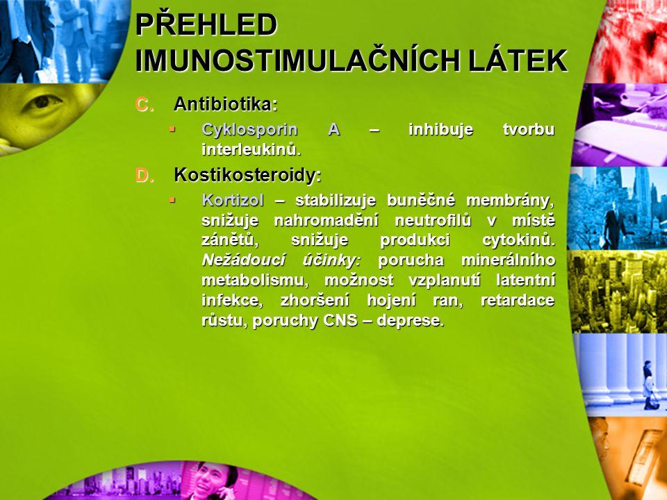 PŘEHLED IMUNOSTIMULAČNÍCH LÁTEK D.Enzymoterapie:  Lyzozym – indukuje tvorbu inerferonu. Vhodná kombinace při použití s antibiotiky. 3)Imunosupresivní