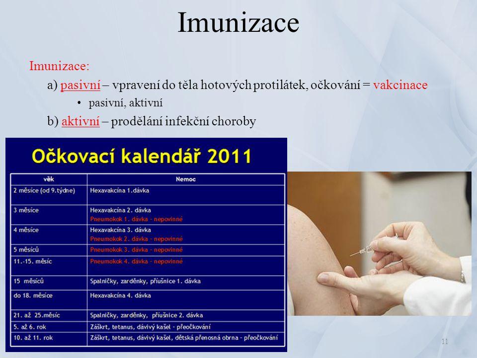 Imunizace Imunizace: a) pasivní – vpravení do těla hotových protilátek, očkování = vakcinace pasivní, aktivní b) aktivní – prodělání infekční choroby
