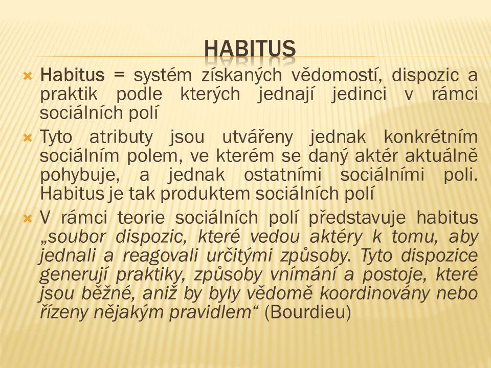  Habitus = systém získaných vědomostí, dispozic a praktik podle kterých jednají jedinci v rámci sociálních polí  Tyto atributy jsou utvářeny jednak